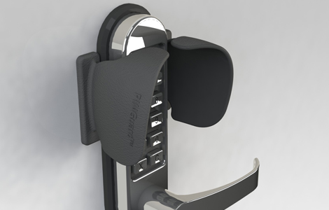 T1 access control and key pad shields for push button locks