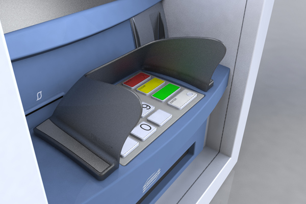 Hybrid Opteva pin shield for Diebold ATMs